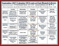 September Calendar of Events - East Branch Public Library