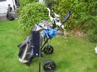 PING EYE 2 MENS LEFT HAND CLUBS IN NIKE GOLF BAG WITH TROLLEY