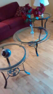 3 nice Wrought Iron and Glass Tables