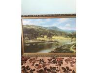 Large landscape scene picture gold framed