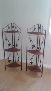 Two wicker and iron plant stands