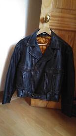 Real Leather Vintage Biker Style Jacket Brown/golden lining. Size EU Large. £70.