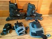 K2 velocity rollerblades rollerskates roller blades skates with pads UK 7.5
