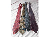 4 mixed mens' ties paisley and reds