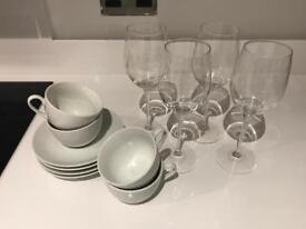 4 White porcelain cups&4 saucers and 4 wine glasses
