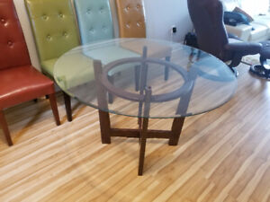 Dining Table- Glass & Wood
