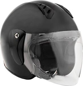 Open Face Helmet with Shield Gloss Black Large