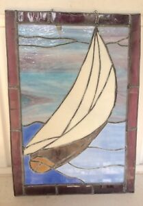 Sail boat stained glass