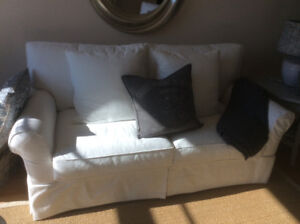 Lee Industries, slipcovered, boomer white, sofa and two chairs