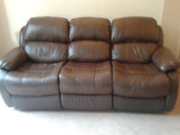 2 x Chocolate brown bonded leather recliner sofas