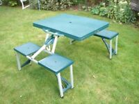 Camping table, seats 4 in good condition Tent 2 and 3 person branded