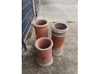 3x terracota red chimney pots