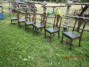 6 antique wooden chairs...