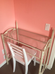 Cream color iron bar desk and glass top for sale