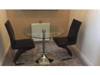 Glass & Chrome round dining table & 2 Chairs