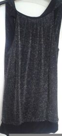 Black Sparkly Top With Lower Back, S-M