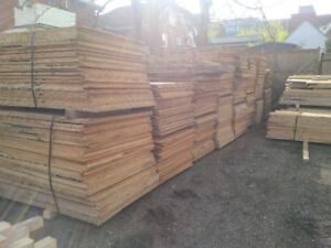 rough cut planks and plywood sheets