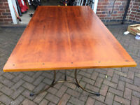 Large dining table wood with metal legs 180x100