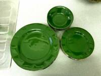 Green and gold retro set of plates