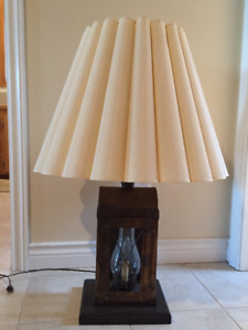 Unique nautical antique large Tri-Lamp with shade