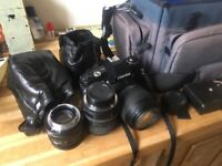 centon df300 camera and 3 lenses and bag accesories
