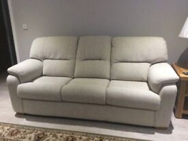 Excellent fabric Three seater settee and a two seater settee that is electric recliner