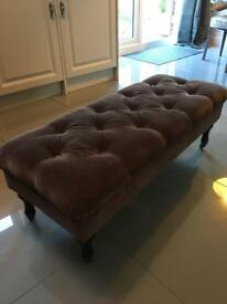 Brown button foot stool