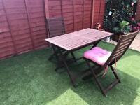 Garden foldable table and 2 chairs with cushions