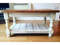 Wooden coffee table and book shelf