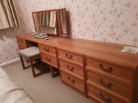 REDUCED 1970s G Plan bedroom set - dresser, 4 x 2 drawer units and blanket box