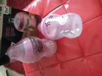 2 pink tommee tippee bottles