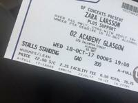 2 x standing tickets to Zara Larson