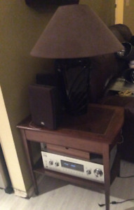 WOOD END TABLE W/LEATHER INSERT AND DRAWER  Asking $60