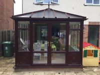 Wood Effect Conservatory (upvc + aluminium roof system) Buyer To Collect And Dismantle