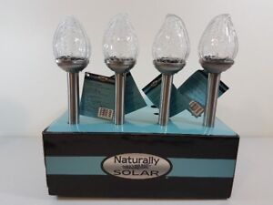 Solar Lights Stainless Steel & Glass Crackle