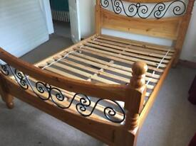 SOLID WOOD DOUBLE BED SOME MARKS AND BEAM DAMAGE BUT STILL USABLE