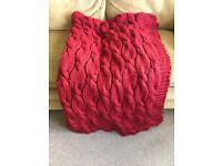 2x Red Chunky Knit John Lewis Throws