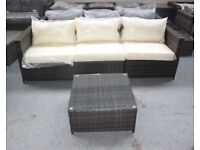 Brown Rattan Garden Outdoor 3 Seat Sofa and Table Set