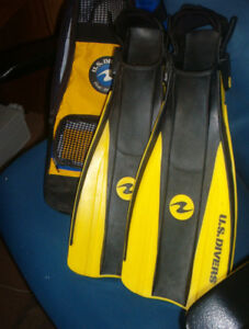 """U.S Divers"" swim fins $8.00 can deliver"