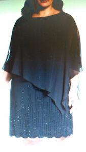 Size 14 Xcape black formal dress, scalloped hem