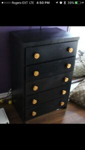 Sturdy 5 drawer black dresser