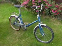 "Retro Pathfinder Folding Shopper Bike, 20"" Chrome wheels with good tyres. 15"" Frame, Single speed"