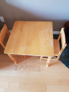 WOOD TABLE AND CHAIRS FOR KIDS