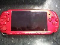 PSP 3003 RED 32GB WITH UNRELEASED MINECRAFT FLAPPYBIRD & LOTS MORE GAMES INSTALLED & LOADS OF DISCS