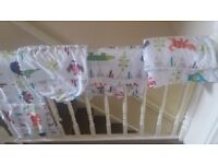 Matching cot bumper, duvet, curtains and moses basket blanket