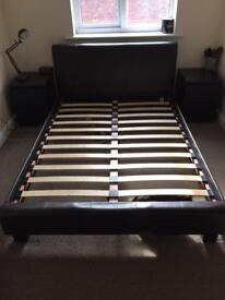 Faux leather bed frame double