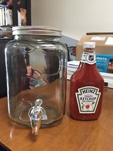 Glass drink dispenser (ketchup to show comparison)