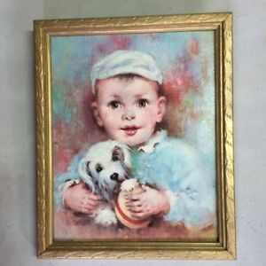 Vintage Baby Nursery Picture Florence Kroger Boy with Puppy