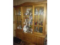 Glass pine cabinet,