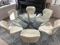 Beautiful Designer Glass and Chrome Dining Table and 6 Faux Leather Chairs - 120cm Diameter